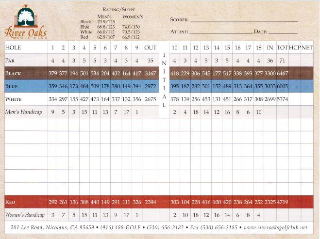 Scorecard River Oaks Golf Club